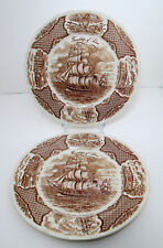 "2 Alfred Meakin Fair Winds Dinner Plates 10 1/2"" Friendship of Salem Vtg Brown"