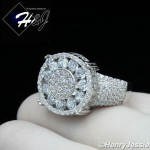 MEN 925 STERLING SILVER ICY DIAMOND BLING ROUND RING*SR126