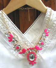 """NEW Pink Resin Crystal Bubble Bib Statement Bubble Necklace Women's Party 18"""" US"""