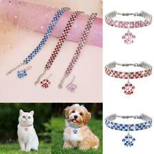 Rhinestone Pet Collar Crystal Puppy Dog Cat Bling Diamante Pendant Necklace Sml