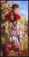 Girl Picking Flowers - Chart Counted Cross Stitch Pattern Needlework Xstitch DIY