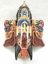 Wooden Ganesha Elephant  Mask Hand Carved & Painted Wood Wall Decor Art #N1642