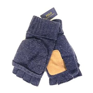 POLO RALPH LAUREN Mens Flip Cuff Wool Blend Gloves One Size Blue (MSRP $55)