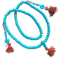 Turquoise Dyed Yak Bone 108 Japa Mala Beads Hand Made in Nepal Om Yoga Mantra