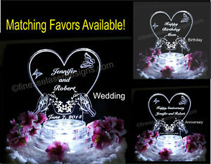 Personalized Butterfly Heart LED Wedding Anniversary Birthday Cake Top Acrylic