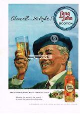 1960 LONG JOHN Scotch Whiskey Man Wearing Beret art by Ally Ross Vtg Print Ad
