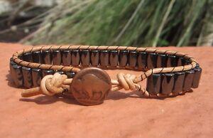 Great Gift idea Men's black Magnetic Surf  Tan/Brown Leather Bracelet Buffalo
