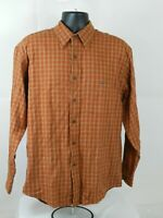 Van Heusen  Men's Plaid Flannel Button Front Long Sleeve Shirt Size M Tan