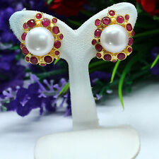 NATURAL 10 mm. ROUND WHITE PEARL & RED RUBY EARRINGS 925 STERLING SILVER