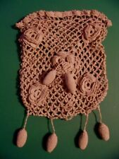 Antique Reticule Crocheted Drawstring Bag Purse Victorian Edwardian Vintage Nice