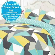 SHAPES GEOMETRIC KING SIZE DUVET COVER SET REVERSIBLE TRIANGLES BLUE GREY YELLOW