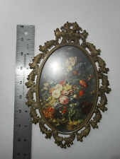 Vintage Homco Home Interiors Victorian Floral Metal Wall Hangings Pictures 8-1/4