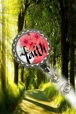 Faith beautiful flowers work Retractable Reel ID Badge Holder christ nurse cna