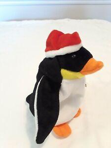 Zero Ty beanie baby Santa hat penguin rare with errors