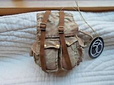 DEPARTMENT 56 NWT HIKER BACKPACK HANGING ORNAMENT FAUX CANVAS TEXTURE RED STRAPS