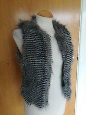 Ladies KATE MISS TOPSHOP Fluffy Faux Fur Hole Body warmer Black Grey Size 6