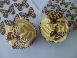 Leopard Print Butterfly CupCake Toppers Edible Rice Paper 24 36 or 48