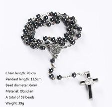 8 mm 59 Obsidian black rosary religious Beads 70 cm necklace chain metal cross