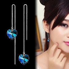 Fashion Beautiful Love Heart  Long Tassels Rhinestone Threader Dangle Earrings