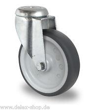 Apparaterolle Gummi grau spurlos 100 mm Rückenloch Rolle Transportrolle