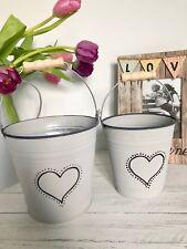 Grey-wash Zinc Heart Buckets Set of 2