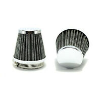 2x 34mm Chrome Pod/Air Filter/Cleaner Dirt/Pit Quad /ATV Bike Buggy Go Kart