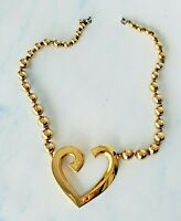 Vintage Carol DAUPLAISE Gold Tone Open Floating HEART Pendant Necklace *Chunky*