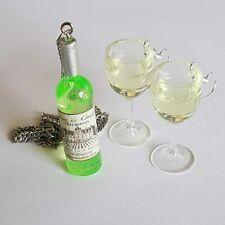 Unique WHITE WINE GLASSES & BOTTLE EARRINGS & NECKLACE SET glass MINI miniature