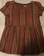 Bonpoint French Designer Girls Tunic/dress Size 3-4 Striped Multi Color Cap Slv