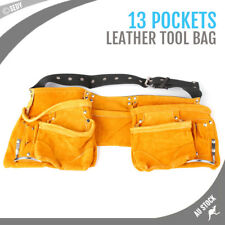 11 Pockets Nail Bag Tool Belt Pouch leather Heavy Duty Waist Belt 59x23cm