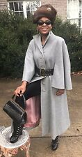 Rare Elegant Designer Full Length Gray wool blend cape Coat Jacket Stroller S -4