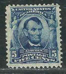 US Stamp 305 5¢ Blue Lincoln MHR F/VF 1903 SCV