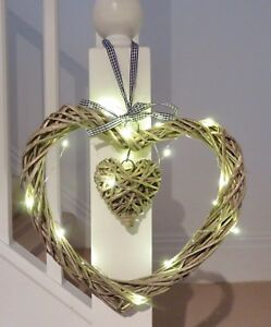 Xmas Vintage Heart wreath Heart 30 cm diameter free set 20 LED lights