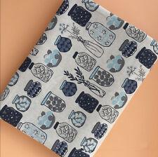 50x150cm Cotton Linen Fabric DIY ZAKKA Home Deco Table Cover Print Bottles  F