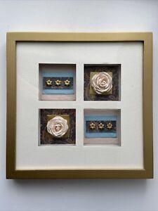 Gold & White Floral Roses Picture, Framed Hanging Wall Artwork & Gold Frame Trim