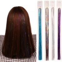 Holographic Hair Color-Glitter Tinsel Extensions Dazzles Hairline 100 Strands