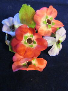 "Vintage Millinery Flower 2 3/4"" Tricolor Pink Purple for Hat Wedding + Hair Y257"