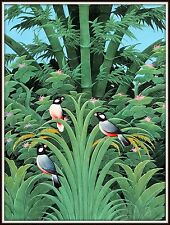 "Balinese Original Painting  ""Parrots in the Bamboo"" Superb!  (31"" H x 23"" W)"