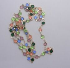 36 IN-  CZECH  ASSORTED COLOR CHANNEL GLASS CHAIN APP 7MM  LOT H 9