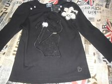 NEW Girls Size 4 Sista Black Long Sleeve T-Shirt Top Lace Embroidery Pretty Cat