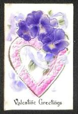 VALENTINE HOLIDAY HEART FLOWERS AIRBRUSHED NOVELTY POSTCARD (c. 1910)