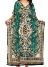 Floral-Print-Long-Kaftan-Dress-Plus-Size-Beach-CoverUp-Gown-Maxi-18 20 22 24 26