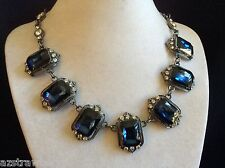 "crystal Rhinestones link Necklace 20"" Gorgeous Deco Style Blue & Clear"