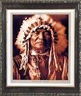 Native American Sitting Bear Arikara Edward S. Curtis Framed Wall Decor Picture