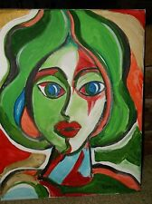 Lady in Green by the artist Rodster 11X14-Original Acrylic Canvas - Fauvism