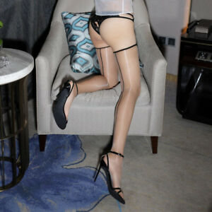 Ladies Thigh High Ultra Thin 1D Sheer Backline Transparent Nylon Stockings Beige