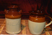 Milk Jug & Pitcher Crock Pottery Brown Tan Glazed Vintage Kitchen Decor