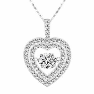 "White Gold Over Rhythm Of Love Dancing Diamond Dauble Heart Pendant w/ 18"" Chain"