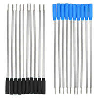 10 Stück Schwarz Blau Ink Kugelschreiber Minen Ersatz 116mm Länge für Schule