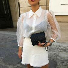 NEW Women Polka Dot Sheer See-through Long Puff Sleeve Tops Blouse Club T-Shirts